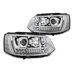 Coppia di fari anteriori DRL e DTS Volkswagen T5 2010-2015 Chrome