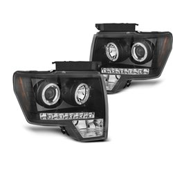 Fari Angel Eyes Ford F150 MK12 2008-2014 Nero