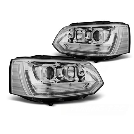 Coppia di fari anteriori DRL e DTS Volkswagen T5 2010-2015 Chrome T6 Look