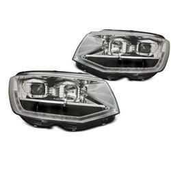 Coppia di fari DRLvera luce diurna con tube light e DTS Volkswagen T6 2015-2019 Chrome