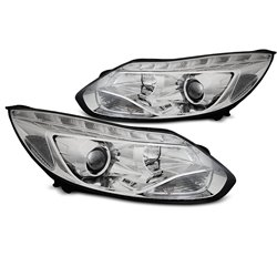 Fari Led stile luce diurna Ford Focus MK3 11-14 Chrome