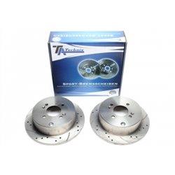 Dischi Freno posteriori sportivi forati e baffati per Hyundai Accent / Getz / i20 / Kia Rio