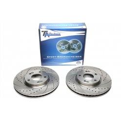 Dischi Freno anteriori sportivi forati e baffati per Hyundai iX35/ i40/ i40 CW / Sonata V / Tucson / Kia Carens V / Optima / Spo