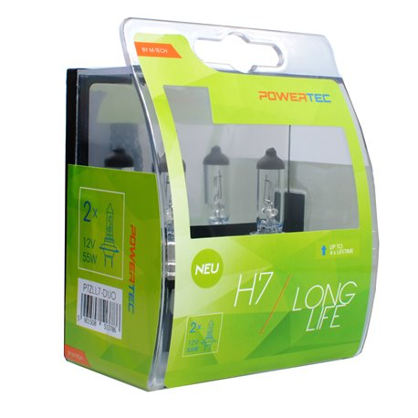 Lampada alogena Powertec Long Life H7 12V DUO
