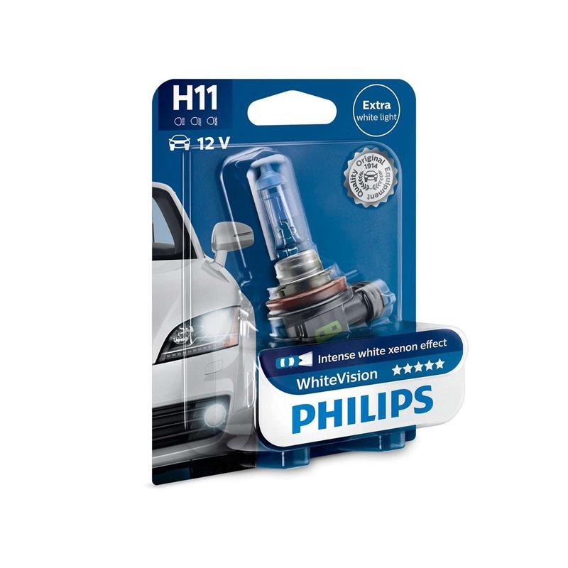 Lampada alogena philips h11 whitevision pgj19 2 12v 55w for Lampada alogena
