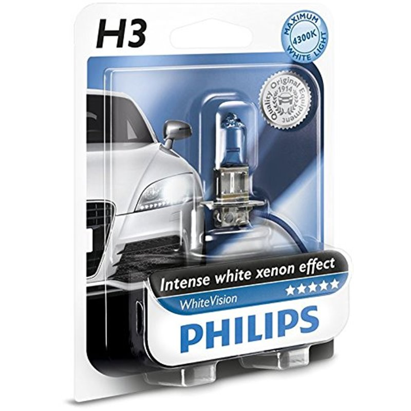 Lampada alogena philips h3 whitevision pk22s 12v 55w for Lampada alogena