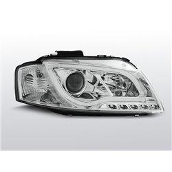 Fari Led stile luce diurna con tubo fibra ottica Audi A3 8P 03-08