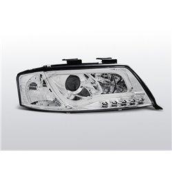 Fari Led stile luce diurna con tubo fibra ottica Audi A6 C5 97-01 Chrome