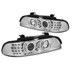 Fari Angel Eyes 3D Led BMW Serie 5 E39 95-03 Chrome
