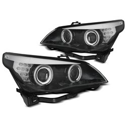 Fari CCFL Angel Eyes BMW Serie 5 E60 / E61 03-07 Neri