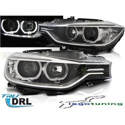 Fari angel eyes LED DRL vera luce diurna BMW F30-F31 2011  berlina & station Neri