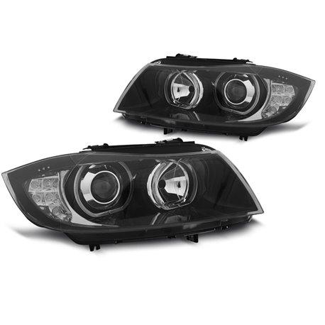 Fari LED Angel Eyes BMW Serie 3 E90 / E91 05-11 Neri