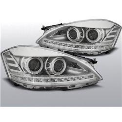 Coppia di fari Xenon stile luce diurna Led Mercedes Classe S W221 05-09 Chrome