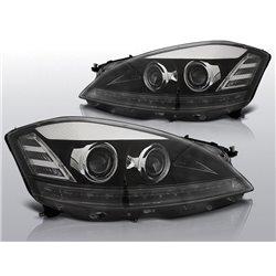 Coppia di fari Xenon stile luce diurna Led Mercedes Classe S W221 05-09 Neri