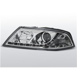 Fari Led stile luce diurna e Xenon Skoda Octavia II 04-08 Chrome