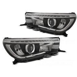 Fari a LED con DRL vera luce diurna per Toyota Hilux 16- Neri