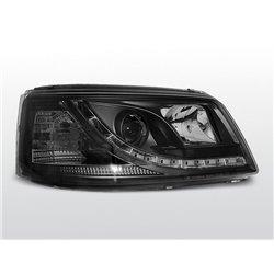 Coppia di fari a Led DRL vera luce diurna Volkswagen T5 03-09 Neri