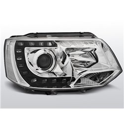 Coppia di fari a Led DRL vera luce diurna Volkswagen T5 10-15 Chrome