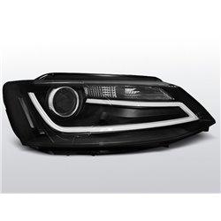 Coppia di fari DRLvera luce diurna con tubo fibra ottica Volkswagen Jetta VI 11- Neri