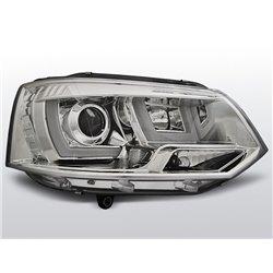 Coppia di fari U-Led DRL vera luce diurna Volkswagen T5 10-15 Chrome