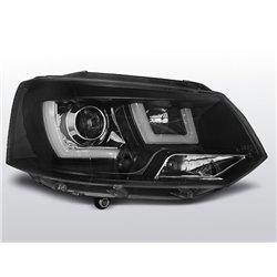 Coppia di fari U-Led DRL vera luce diurna Volkswagen T5 10-15 Neri