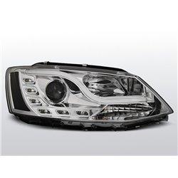 Coppia di fari DRL vera luce diurna con tubo fibra ottica Volkswagen Jetta VI 11- Chrome