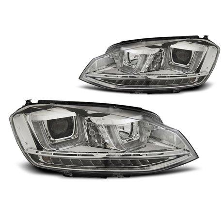 Coppia di fari U-Led con DRL vera luce diurna Volkswagen Golf VII 12- Chrome