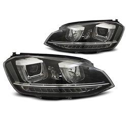 Coppia di fari U-Led con DRL vera luce diurna Volkswagen Golf VII 12- Black