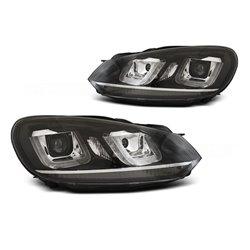 Coppia di fari DRL vera luce U-Type Volkswagen Golf VI 08-12 Neri con linea Chrome