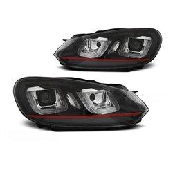 Coppia di fari DRL vera luce U-Type Volkswagen Golf VI 08-12 Neri con linea Rossa