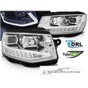 Coppia di fari DRLvera luce diurna con tubo fibra ottica Volkswagen T6 2015- Chrome