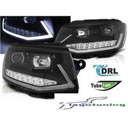 Coppia di fari DRLvera luce diurna con tubo fibra ottica Volkswagen T6 2015- Neri