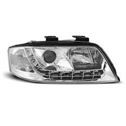 Coppia di fari a Led stile luce diurna Audi A6 C5 97-01 Chrome