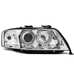 Fari Angel Eyes Xenon Audi A6 C5 97-99 Chrome