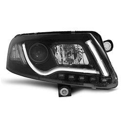 Fari Led vera luce diurna con xenon e tubo fibra ottica Audi A6 C6 04-08 Neri