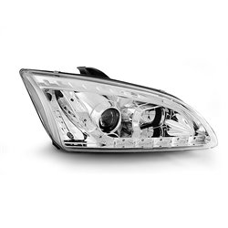 Coppia di fari a Led stile luce diurna Ford Focus MK2 04-08 Chrome