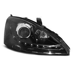 Coppia di fari a Led stile luce diurna Ford Focus MK1 01-04 Neri