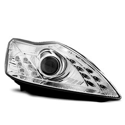 Coppia di fari a Led stile luce diurna Ford Focus MK2 08-10 Chrome