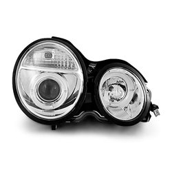 Coppia di fari Angel Eyes Mercedes Classe E W210 95-99 Chrome