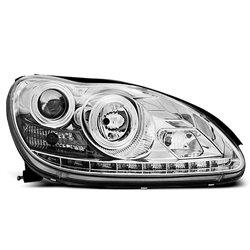 Coppia di fari a Led stile luce diurna Mercedes Classe S W220 Chrome