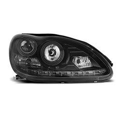 Coppia di fari a Led stile luce diurna Mercedes Classe S W220 Neri