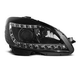 Coppia di fari a Led stile luce diurna + Xenon Mercedes Classe C W204 07-10 Neri