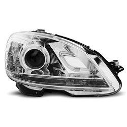 Coppia di fari a Led stile luce diurna Mercedes Classe C W204 07-10 Chrome