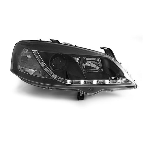 Coppia di fari a Led stile luce diurna Opel Astra G 97-04 Neri