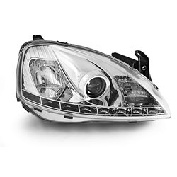 Coppia di fari a Led stile luce diurna Opel Corsa C 00-06 Chrome