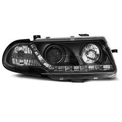 Coppia di fari a Led stile luce diurna Opel Astra F 91-94 Neri
