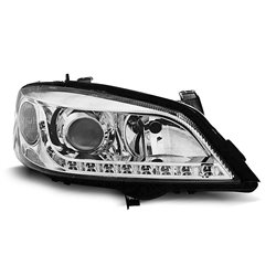 Coppia di fari a Led stile luce diurna Opel Astra G 97-04 Chrome