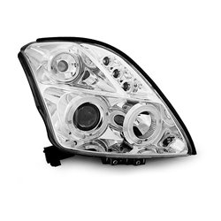 Fari Angel Eyes e LED stile luce diurna Suzuki Swift 05-10 Chrome