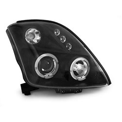 Fari Angel Eyes e LED stile luce diurna Suzuki Swift 05-10 Neri