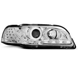 Coppia di fari a Led stile luce diurna Volvo S40 / V40 96-00 Chrome